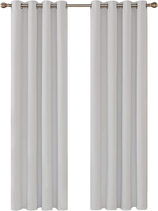 Tenda oscurante termica isolante con occhielli 100% poliestere grigio perla 140x260cm 2 pannelli deconovo CTF1023A-1