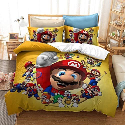 UOUO Juego de funda de edredón de Super Mario Bros con impresión reversible, juego de cama de 3 piezas con cierre de cremallera, Queen (sin edredón)