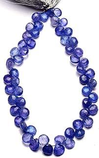 Jaipur Gems Mart Piedra Preciosa de tanzanita Natural 6.5MM Tamaño aproximado Facetas en Forma de corazón Briolette Beads ...