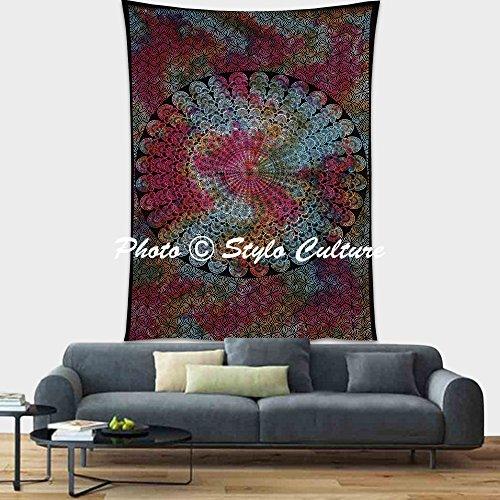 Stylo Culture Hippie Indienne Tenture Murale Tapisserie Plume Wall Decor Hanging Pique-Nique Unique Imprimé Tie-Dye Mandala Jeter