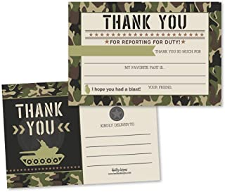 25 Camo Army Party Fill In The Blank Kids Camouflage Thank You Cards, Military War Guns Themed Scavenger Hunt Bday Party Notes, Hunting Adult or Children Birthday, Marine Supplies, Grenade Ideas