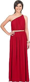 Womens Long One Shoulder Grecian Belted Flowy Summer Gown Maxi Dress