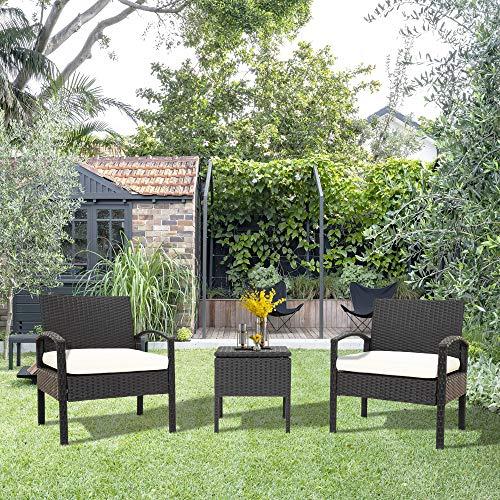 Dancal Juego de muebles de jardín de 3 piezas, 1 mesa y 2 sillones, mesa de café con espacio de almacenamiento, resistente a la intemperie, juego de muebles de jardín para jardín, balcón y terraza