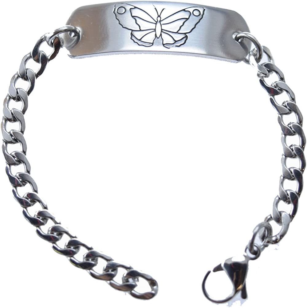 Deep Stamped Adjustable Customizable Childrens Identification Bracelet Butterfly (Includes Free Engraving)