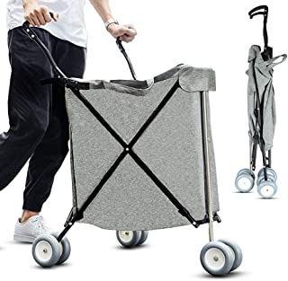 SHIJIAN 84L Large Capacity Folding Shopping Cart - Shopping Cart Universal Wheel Multi-Function Folding Camper Outdoor Outing Small Cart (Color : Gray)