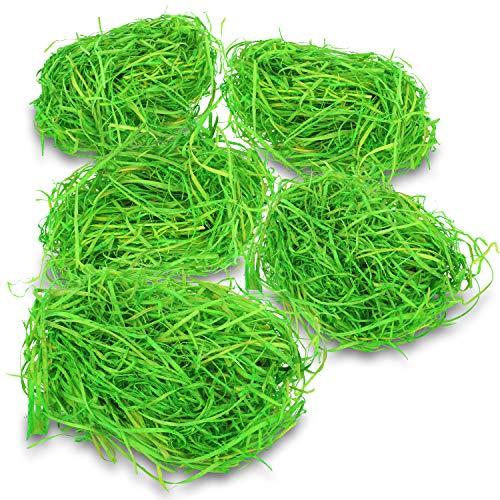 COM-FOUR® 5x herbe de Pâques en vert pour les nids de Pâques - décorations de Pâques pour l'artisanat - laine de bois pour les paniers de Pâques - environ 25 g par sac (Set1 - Herbe de Pâques verte - 5x)