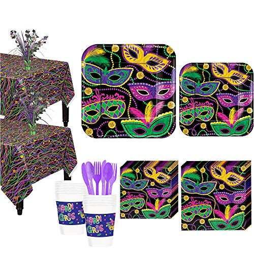Party City Mardi Gras Masquerade Mask Party Supplies for 16 Guests, Includes Plates, Napkins, and Centerpieces