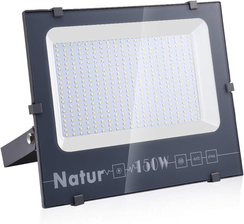 Natur LED-Flutlicht 150W 15000lm,6000-6500K Kalteswei,IP66 wasserdicht,für den Auenbereich, für Garten,Hof,Lager,quadratisch,Billboard