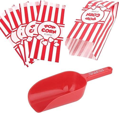 Poppy's Popcorn Scoop and Popcorn Bags Bundle, Nostalgic Popcorn Accessories for Popcorn Machine and Popcorn Bar, Pop...