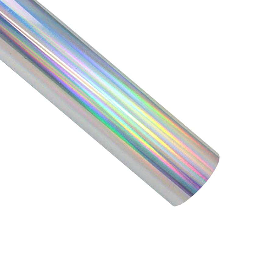 Holographic Heat Transfer Vinyl Roll 12 inches x 5 Feet Iron on Vinyl HTV for DIY T-Shirts or Fabrics (Holographic Silver)