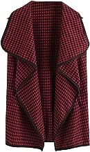 TRENDINAO Cardigan Vest for Women Elegant Plaid Drape Front Open Autumn and Winter Sleeveless Jacket Waistcoat Gilet