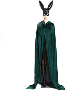 Hooded Cloak Long Velvet Cape for Christmas Halloween Cosplay Costume 4 Sizes 8 Colors
