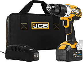 JCB Tools - JCB 20V Cordless Drill Driver Power Tool - Variable Speed - Forward And Reverse Rotation - With 5.0Ah Battery,...
