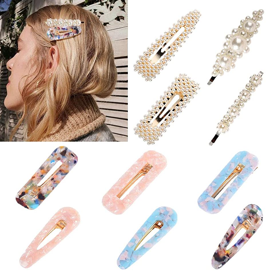 ZOCONE 10 PCS Pearls Hair Clips for Women/Girls Hairpin Pearl Clips For Women Hairpin Acrylic Resin Fashion Hairpin Hair Accessories