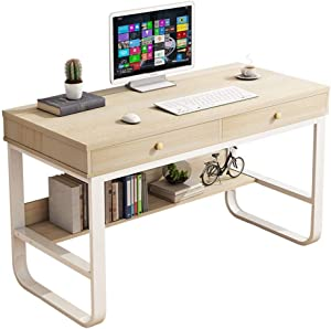 Alelife Multi-Layer Storage Frame Computer Desk Laptop Office Desk Pullout Keyboard Tray (White)