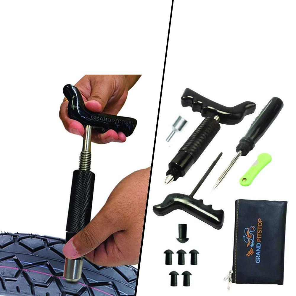 Grand Pitstop Kit De Reparación De Pinchazos Para Neumáticos Sin Cámara Para Motocicleta Y Coches Con 6 Tapones De Hongos Automotive