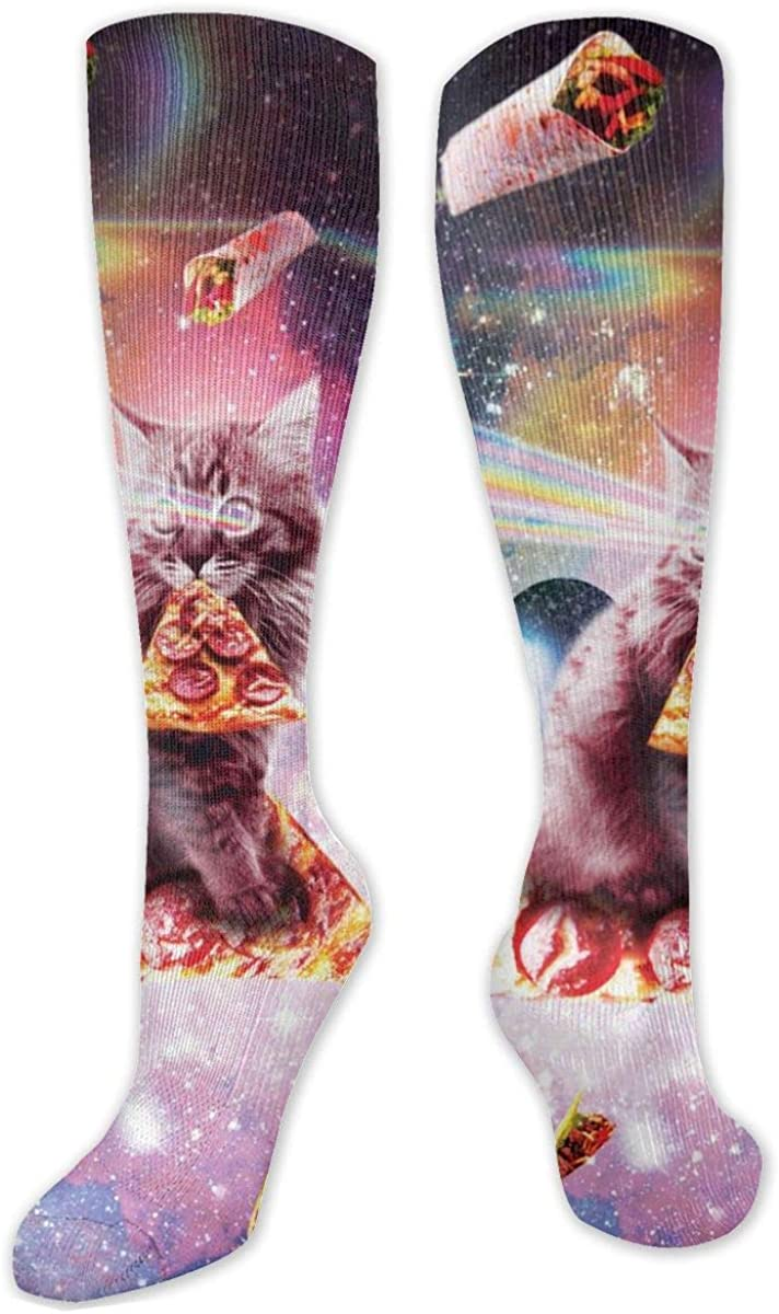 Space Cat Pizza Knee High Socks Leg Warmer Dresses Long Boot Stockings For Womens Cosplay Daily Wear