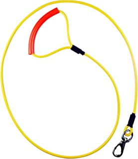 WATFOONヘビーデューティドッグリード:最大300ポンド、超絡み合い防止自在の留め具付き金属製ケーブルロープ、耐チック性、防水性、トレーニング&ウォーキング用(黄色)