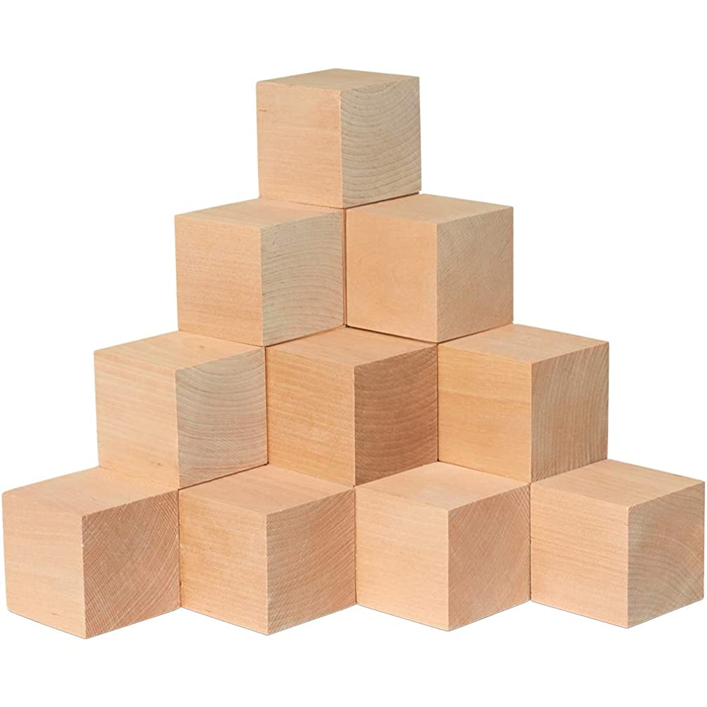 Wood Blocks, 2-1/4 Inch Cubes, 2 Pack | Unfinished Wooden Toy Craft Supply Kit for Kids & Adults, DIY Art Projects, ABC Toys | Woodpeckers Crafts