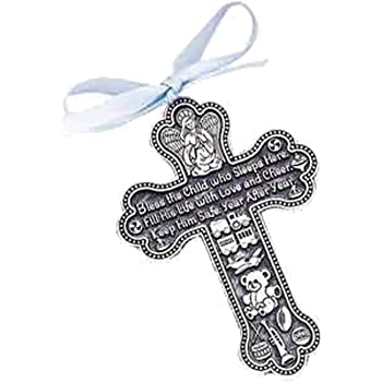 Bless The Child - GUARDIAN ANGEL Baby BOY Crib Cross PEWTER Medal/CHRISTENING/BABY SHOWER GIFT/Baptism KEEPSAKE/with BLUE RIBBON/GIFT BOXED