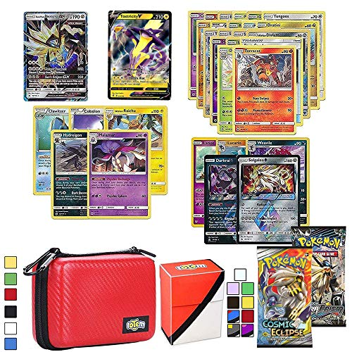 Totem World Cards V & GX Lot with Card Carrying Case, 1 V & GX Card Guaranteed, Plus 1 Card Holder, 2 Booster Packs, 5 Rares, 5 Holos, 20 Regular Cards, and 1 Deck Box Compatible for Pokemon Cards