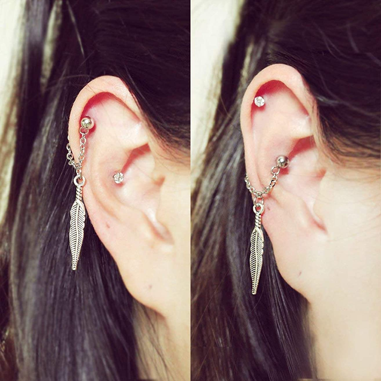 Feather conch chain earring, conch hoop earring, helix earring, ear cartilage chain dangle earring jewelry, 304 Stainless Steel, Sold individually