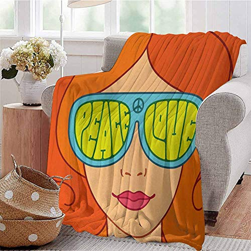 SSKJTC Digital Printing Blanket Red Haired Girl with Sunglasses Retro Typography Hippie with Love and Peace Print Multicolor Bedroom Dorm Sofa Baby Cot Beach W60 xL80