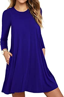 Women's Long Sleeve Pockets Casual Loose T-Shirt Dresses