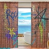 yibaihe Fenster Vorhänge, Gardinen Platten Fenster Behandlung Set Voile Drapes Tüll Vorhänge Colorful Graffiti Wall 140 W x 198cm L 2Einsätze für Wohnzimmer Schlafzimmer Girl 's Room