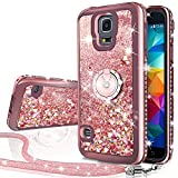 Galaxy S5 Case, Silverback Moving Liquid Holographic Sparkle Glitter Case with Kickstand, Bling Diamond Rhinestone Bumper with Ring Stand Slim Protective Samsung Galaxy S5 Case for Girls Women -RD