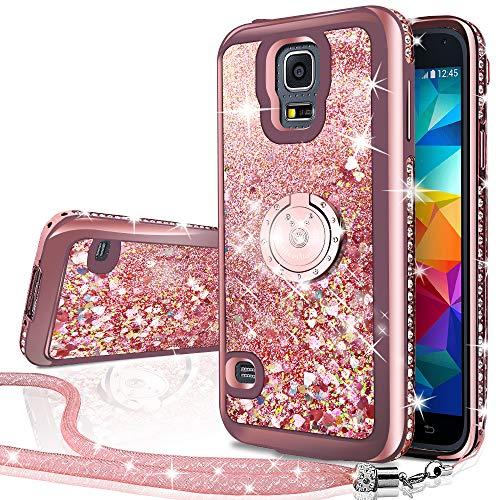 Miss Arts Funda Galaxy S5 [Silverback] Carcasa Brillante Purpurina con Soporte Giratorio de 360 Grados, Transparente Cristal Bumper Telefono Fundas Case Cover para Samsung Galaxy S5 -Rose Oro