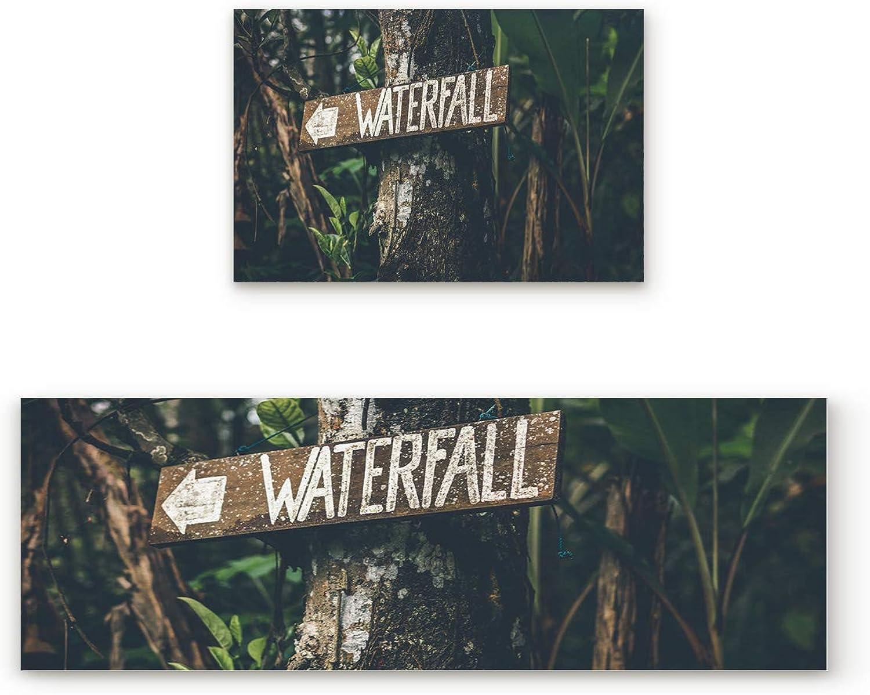 KAROLA 2 Piece Non-Slip Kitchen Mat Doormat Runner Rug Set Thin Low Pile Indoor Area Rugs Tropical Thailand Botanical Garden Signpost Waterfall 19.7 x31.5 +19.7 x63