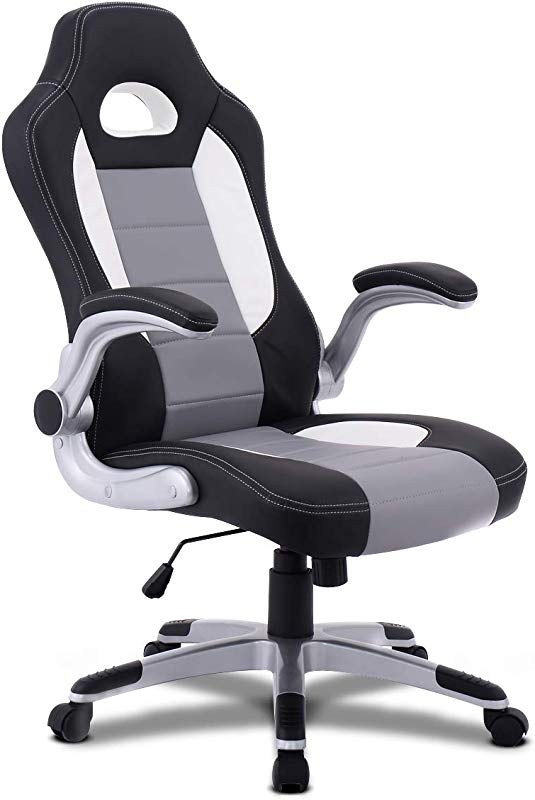 Giantex Ergonomic Gaming Chair High Back Leather Computer Executive Chair Racing Style Bucket Seat Adjustable Swivel Chair Office Desk Chair Video Game Chairs W Armrest Gray