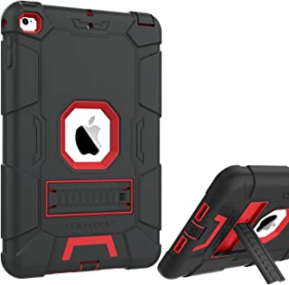 iPad Mini 4 Case,BENTOBEN Kickstand Hybrid Three Layer Heavy Duty Rugged High Impact Resistant Cover Shockproof Protective Cases for iPad Mini 4,Black/Red