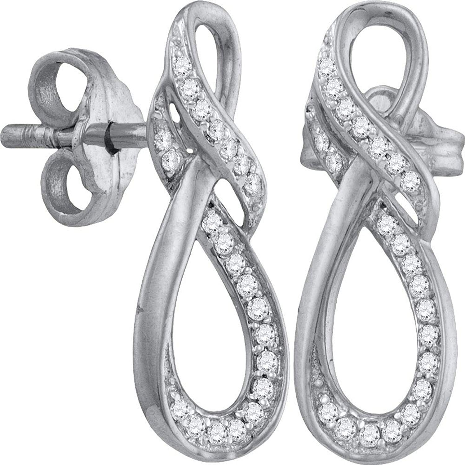 10kt White gold Womens Round Diamond Infinity Screwback Earrings 1 6 Cttw