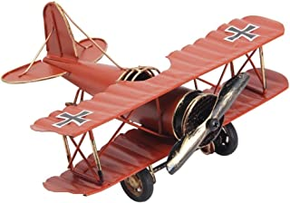 Large 8.5'' Hang Retro Airplane Aircraft Model,Home Decor Ornament Toy,Home Office Desktop Decoration, Retro World War I German Wings Model,ww1 Aircraft Model (Orange-Red)