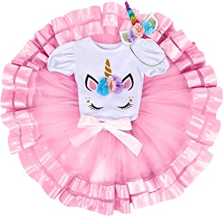 d68180505c6 FYMNSI Unicorn Princess Baby Girls 1st Birthday Cake Smash Floral Romper  Skirt with Unicorn Headband 3PCS