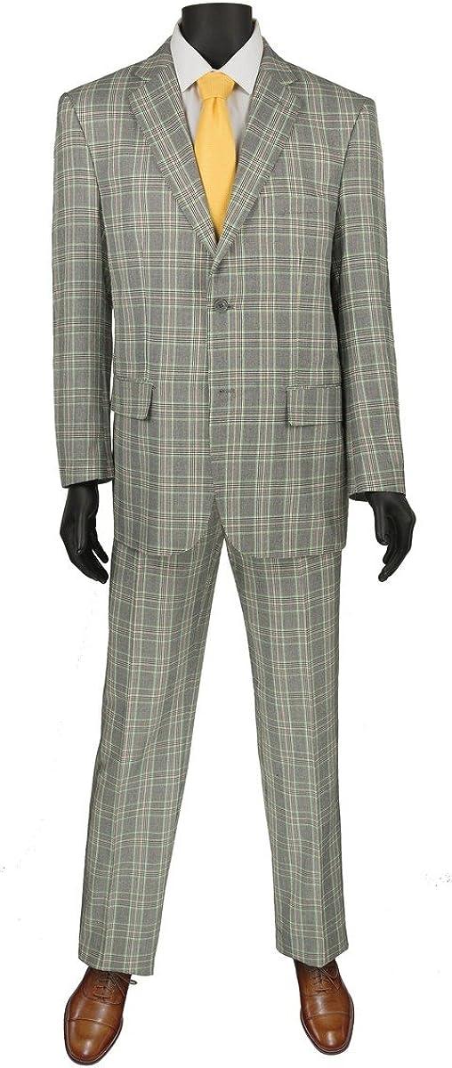 VINCI Glen Plaid Pattern 2 Button Single Breasted Regular Fit Suit 2RW-5