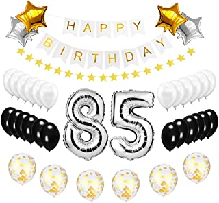 Best Happy to 85th Birthday Balloons Set - High Quality Birthday Theme Decorations for 85 Years Old Party Supplies Silver Black Gold