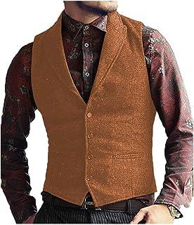 JinXuanYa Men's Wool Tweed Waistcoat Formal Herringbone Classic Peaked Collar Waistcoat Formal for Party Business Groomsmen