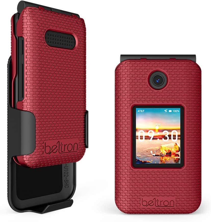 Case with Belt Clip for Cricket Debut Flip, AT&T Cingular Flip 4, Protective Snap On Cover with Rotating Belt Clip Holster Combo for Cricket Debut Flip (U102AC), AT&T Cingular Flip IV (U102AA) - Red