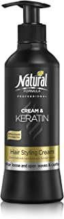Natural Formula Professional Hair Moisturizer Cream With Pure Keratin For Volume Reduction & Glowing Curls Paraben and Sulfate Free 13.5 Fl Oz