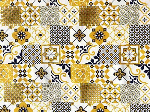 Italian Home Textile Company Tessuto Motivo Maioliche VAR. Gialla e Blu | Prodotto Made in Italy | 100% Puro Cotone | Altezza 180 cm | Il Tessuto è in Vendita al Metro