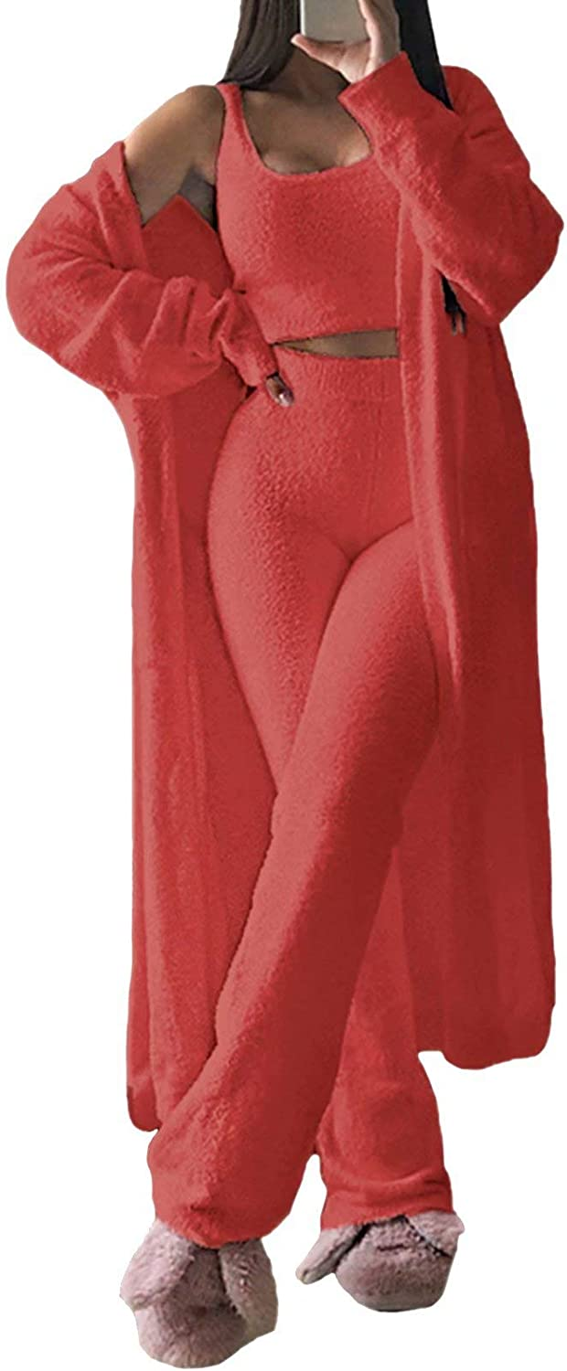 TEWWEY Women's 3 Complete Free Shipping Piece Fuzzy Fleece Crop Outfits Top Wide Pajama Max 70% OFF