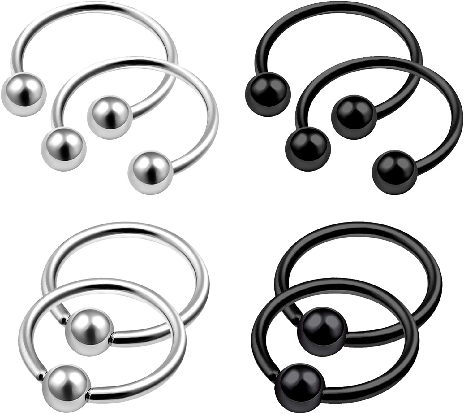 MATIGA 8Pcs Steel Black Anodized 20g Earring Horseshoe Captive Bead Ring Piercing Jewelry Septum Lip Cartilage 3mm Ball More Choices