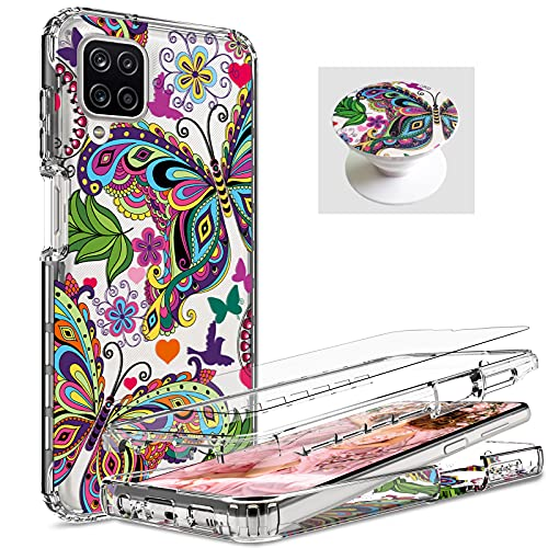 [ 3 Items ] AMPURSQ for Samsung A12 Case with Screen Protector, Samsung A12 Case for Women Girl Shockproof Protective Butterfly Design Case for Samsung Galaxy A12 (Butterfly)