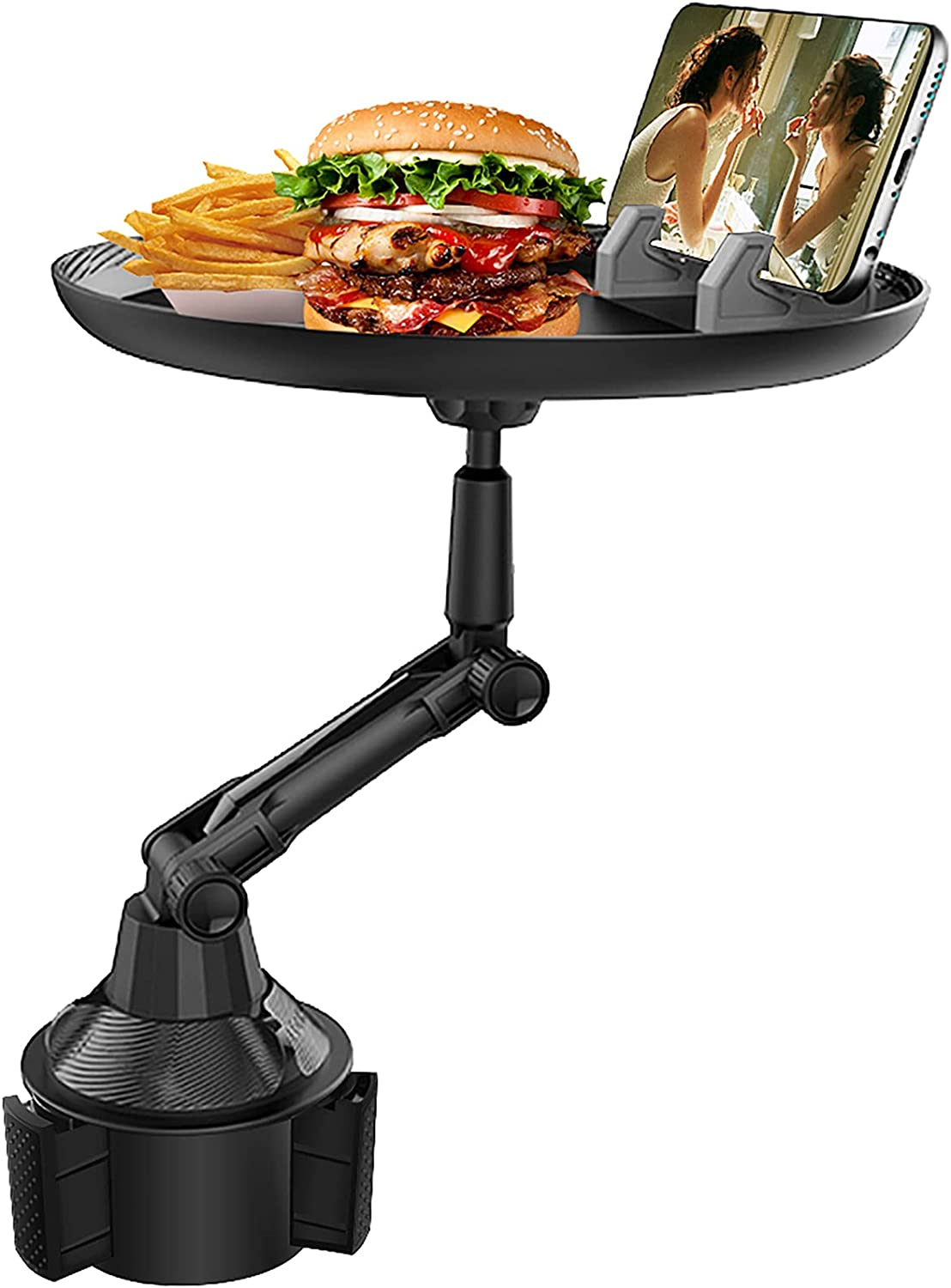 Huzz Car Tray for Eating & Cup Holder Tray - Enjoy Your Food and Stay Organized, Multifunctional Car Food Tray with 360° Rotating Swivel Arm and Adjustable Extendable Base, Car Passenger Tray