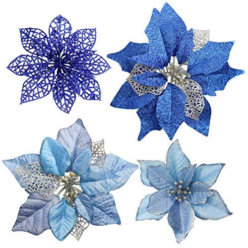 FUNARTY 28 Pcs Assorted Christmas Blue Glitter Poinsettia Flowers Christmas Tree Ornaments for Winter Blue Christmas Tree Wreaths Garland Holiday Wedding Decorations