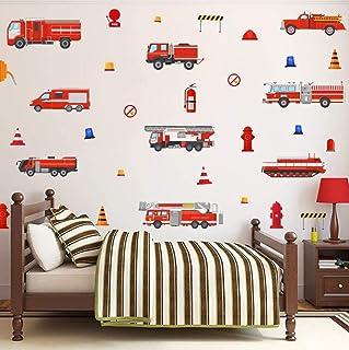 KAIRNE 32 Pcs Autocollant Mural Camion De Pompiers,Autocollant Muraux Voiture Pour Chambre D'enfants/Bébé,Sticker Muraux V...