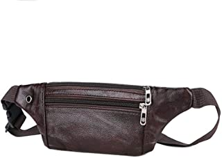 Multifunction Outdoor Sport Leather Waist Pack, Men's and Women's Leisure Zip Chest Bag Riding Bag for Outdoor Sports, Running, Cycling Trip, Mountaineering Etc (Size: 33*1*11.5cm) ( Color : Brown )